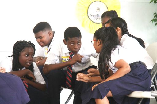 Members Of Marabella North Secondary School B Team In A Huddle During The Competition
