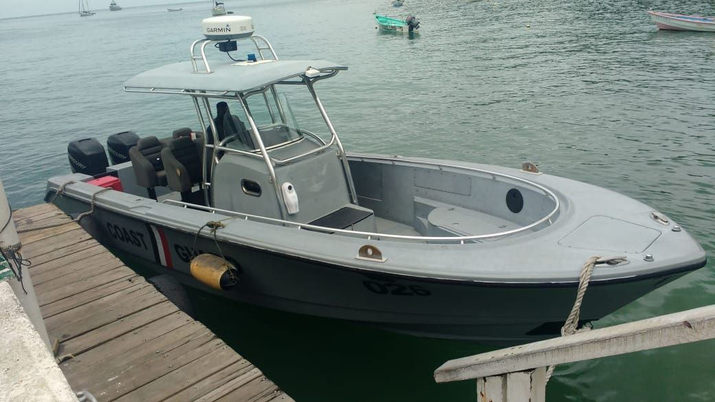 One of the two new Coast Guard interceptors commissioned in Tobago.