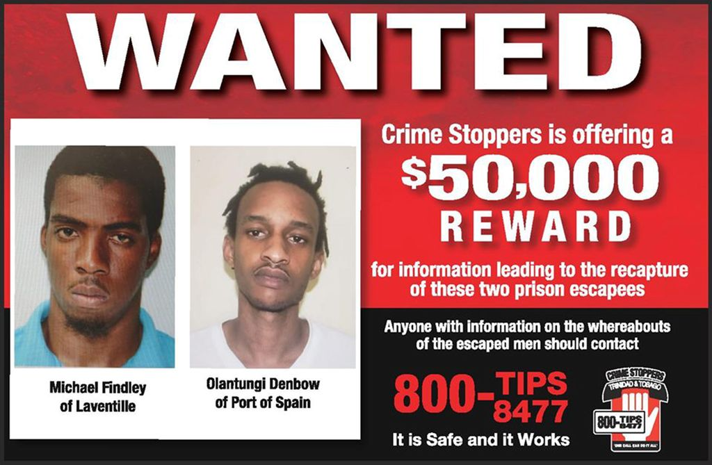 A Crimestoppers poster announcing the offer of $50,000 for information leading to the recapture of two escaped prisoners.