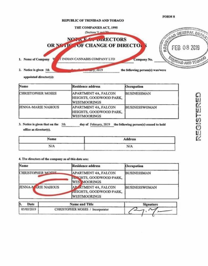 A company of the company registration for the West Indian Cannabis Company Limited, whose directors include an in-law of Attorney General Faris Al-Rawi.